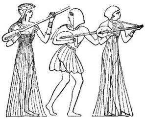 Image of Ancient Egyptian stringed instruments, including a lute. (Courtesy of Wikimedia Commons)
